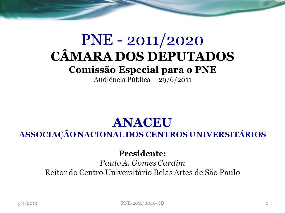 PNE - 2011/2020 CÂMARA DOS DEPUTADOS Comissão Especial para o PNE Audiência Pública – 29/6/2011 ANACEU ASSOCIAÇÃO NACIONAL DOS CENTROS UNIVERSITÁRIOS