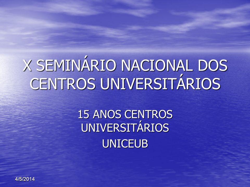 X SEMINÁRIO NACIONAL DOS CENTROS UNIVERSITÁRIOS 15 ANOS CENTROS UNIVERSITÁRIOS UNICEUB 4/5/2014