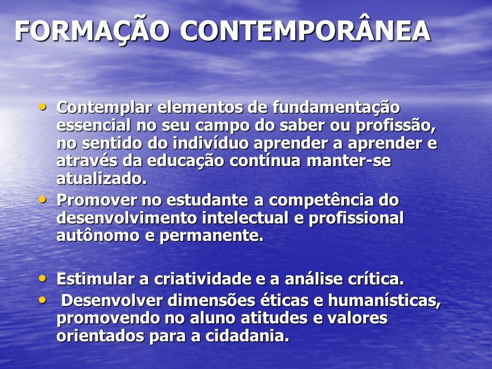 FORMAÇÃO CONTEMPORÂNEA FORMAÇÃO CONTEMPORÂNEA Contemplar elementos de fundamentação essencial no seu campo do saber ou profissão, no sentido do indiví