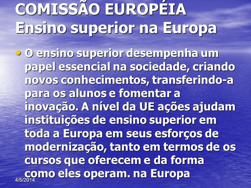 COMISSÃO EUROPÉIA Ensino superior na Europa O ensino superior desempenha um papel essencial na sociedade, criando novos conhecimentos, transferindo-a