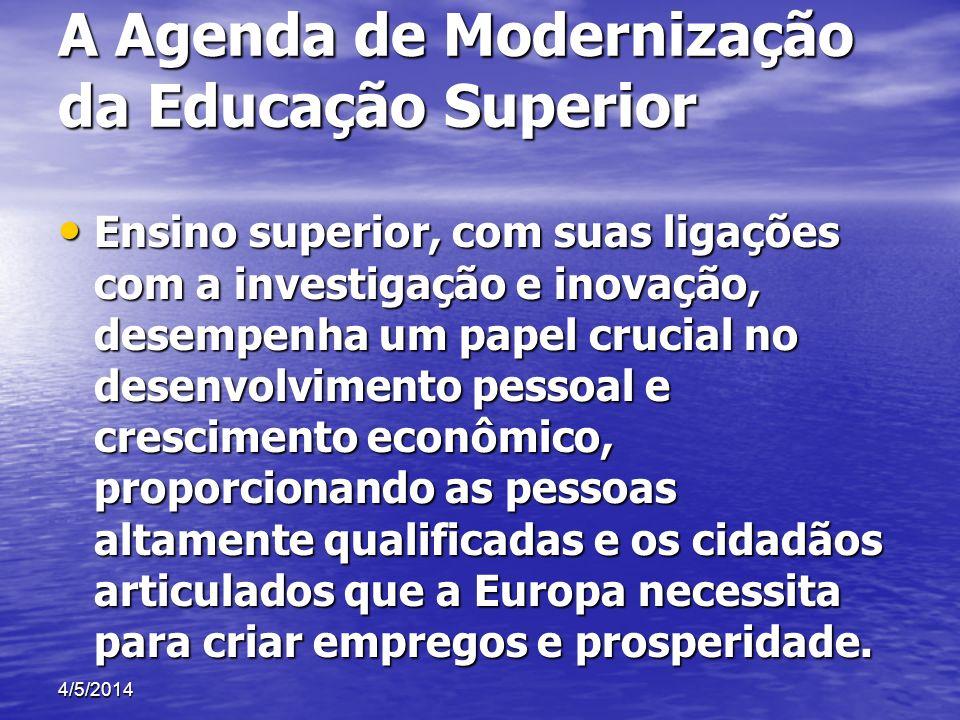 A Agenda de Modernização da Educação Superior Ensino superior, com suas ligações com a investigação e inovação, desempenha um papel crucial no desenvo