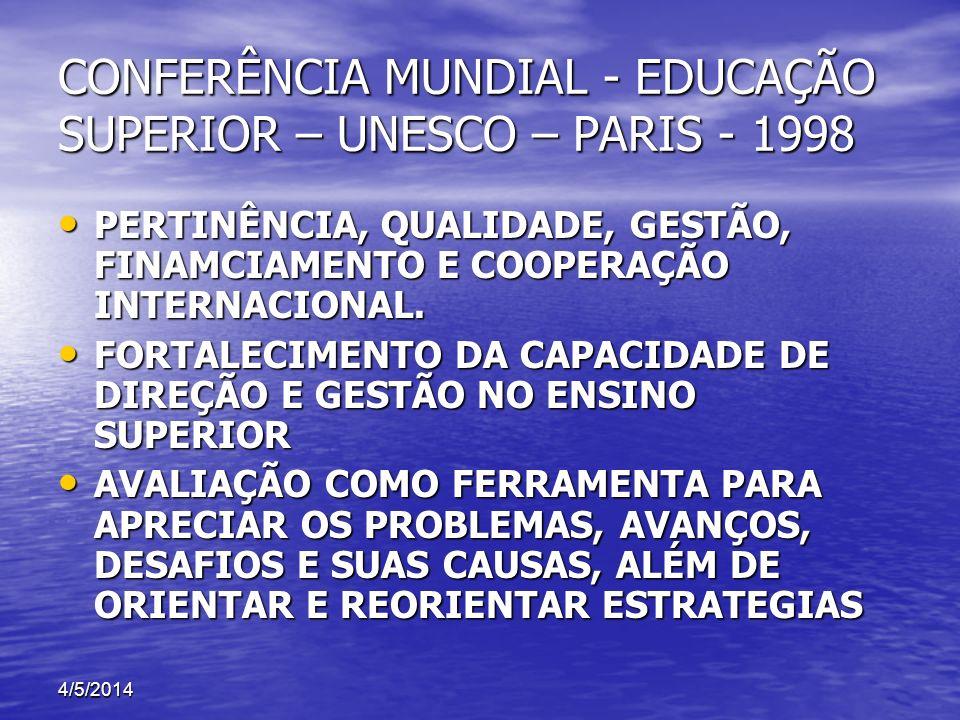 CONFERÊNCIA MUNDIAL - EDUCAÇÃO SUPERIOR – UNESCO – PARIS - 1998 PERTINÊNCIA, QUALIDADE, GESTÃO, FINAMCIAMENTO E COOPERAÇÃO INTERNACIONAL. PERTINÊNCIA,