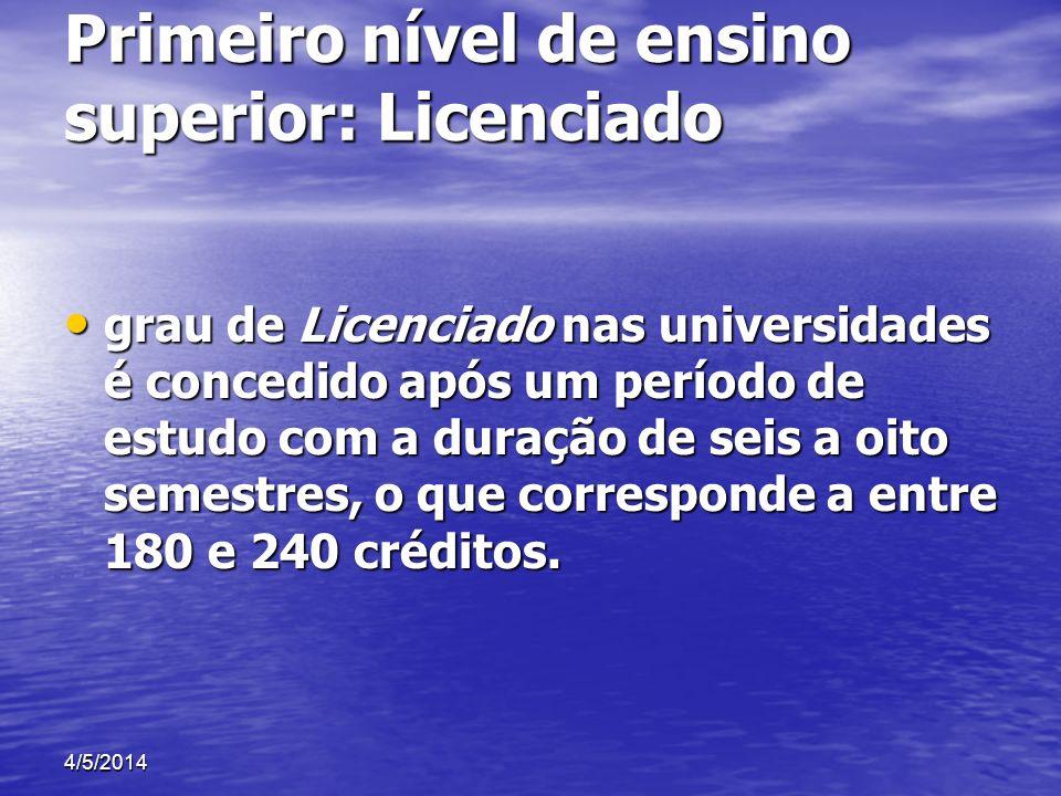 Primeiro nível de ensino superior: Licenciado grau de Licenciado nas universidades é concedido após um período de estudo com a duração de seis a oito