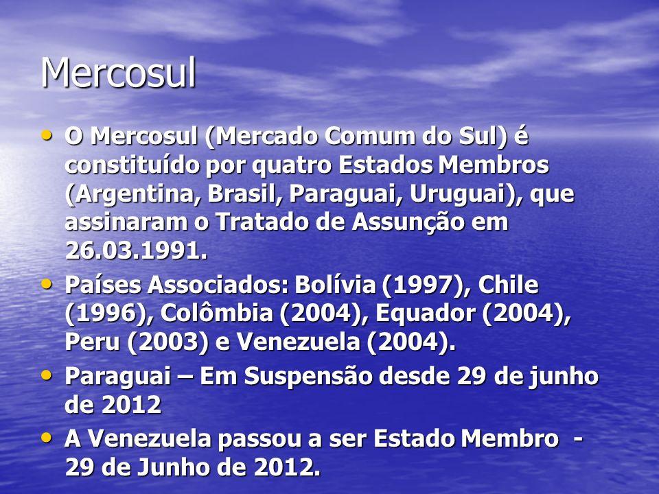 Mercosul O Mercosul (Mercado Comum do Sul) é constituído por quatro Estados Membros (Argentina, Brasil, Paraguai, Uruguai), que assinaram o Tratado de