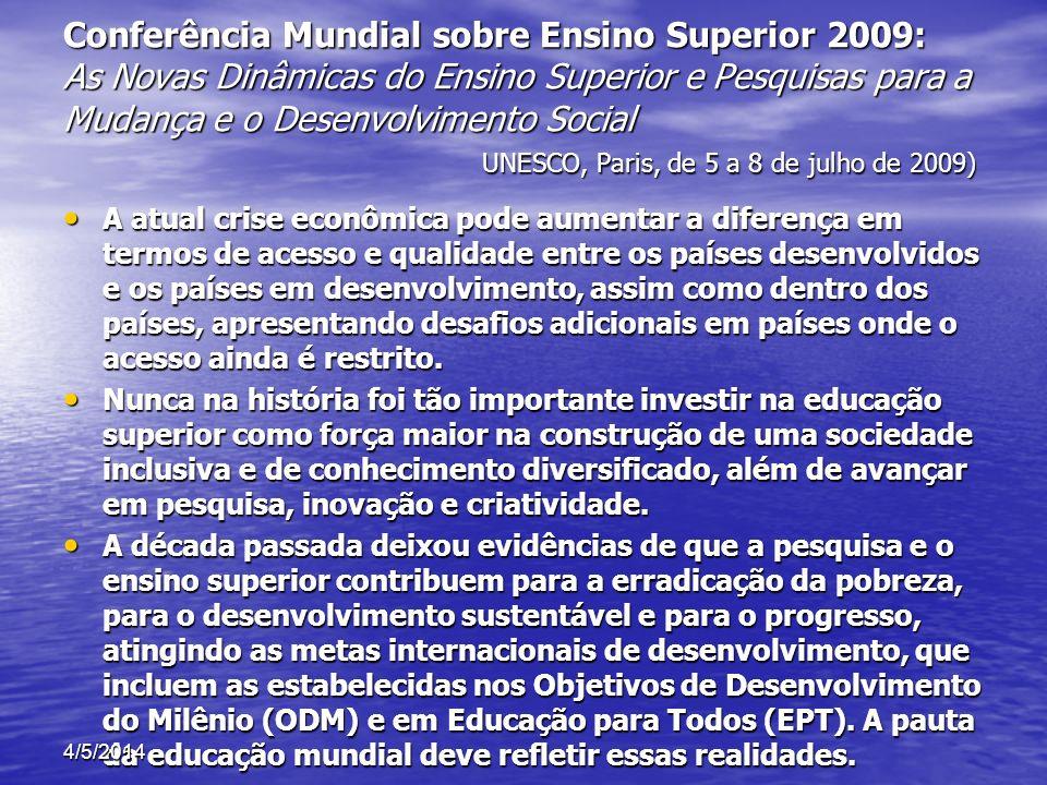 Conferência Mundial sobre Ensino Superior 2009: RESPONSABILIDADE SOCIAL DA EDUCAÇÃO SUPERIOR RESPONSABILIDADE SOCIAL DA EDUCAÇÃO SUPERIOR ACESSO, IGUALDADE E QUALIDADE ACESSO, IGUALDADE E QUALIDADE INTERNACIONALIZAÇÃO, REGIONALIZAÇÃO E GLOBALIZAÇÃO INTERNACIONALIZAÇÃO, REGIONALIZAÇÃO E GLOBALIZAÇÃO ENSINO, PESQUISA E INOVAÇÃO ENSINO, PESQUISA E INOVAÇÃO 4/5/2014