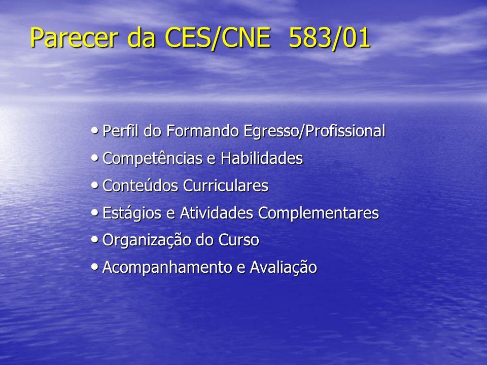 Parecer da CES/CNE 583/01 Parecer da CES/CNE 583/01 Perfil do Formando Egresso/Profissional Perfil do Formando Egresso/Profissional Competências e Hab