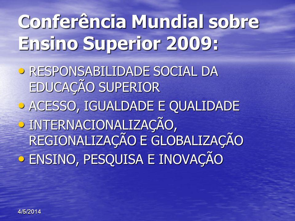 Conferência Mundial sobre Ensino Superior 2009: RESPONSABILIDADE SOCIAL DA EDUCAÇÃO SUPERIOR RESPONSABILIDADE SOCIAL DA EDUCAÇÃO SUPERIOR ACESSO, IGUA
