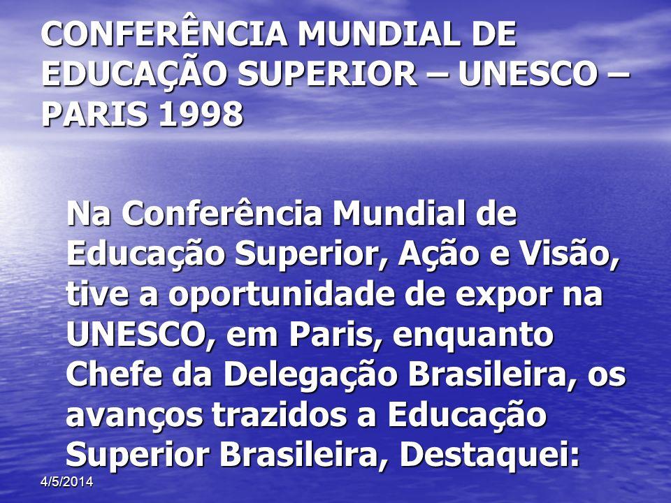 CONFERÊNCIA MUNDIAL DE EDUCAÇÃO SUPERIOR – UNESCO – PARIS 1998 Na Conferência Mundial de Educação Superior, Ação e Visão, tive a oportunidade de expor
