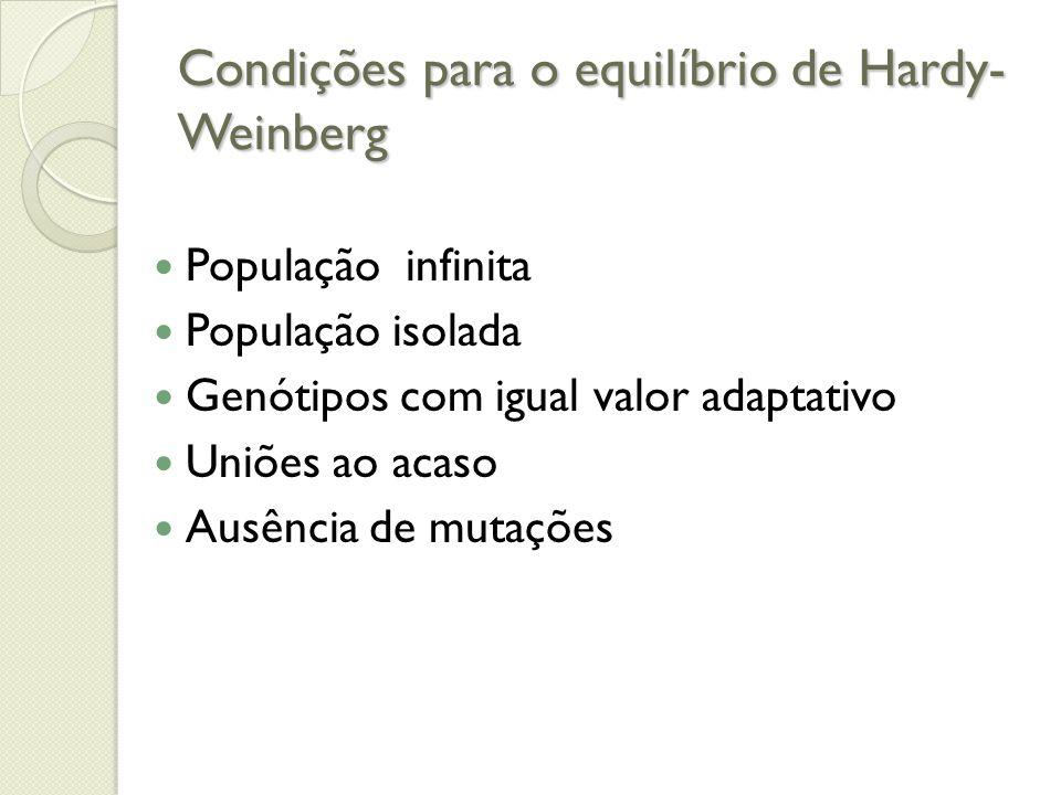 Condições para o equilíbrio de Hardy- Weinberg População infinita População isolada Genótipos com igual valor adaptativo Uniões ao acaso Ausência de m