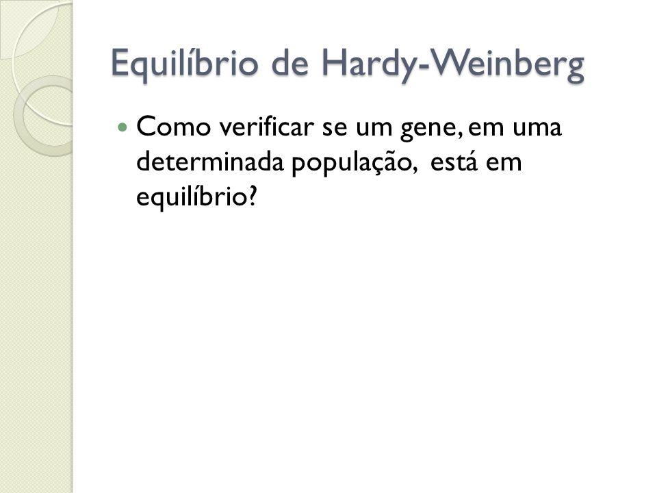 Equilíbrio de Hardy-Weinberg Como verificar se um gene, em uma determinada população, está em equilíbrio?