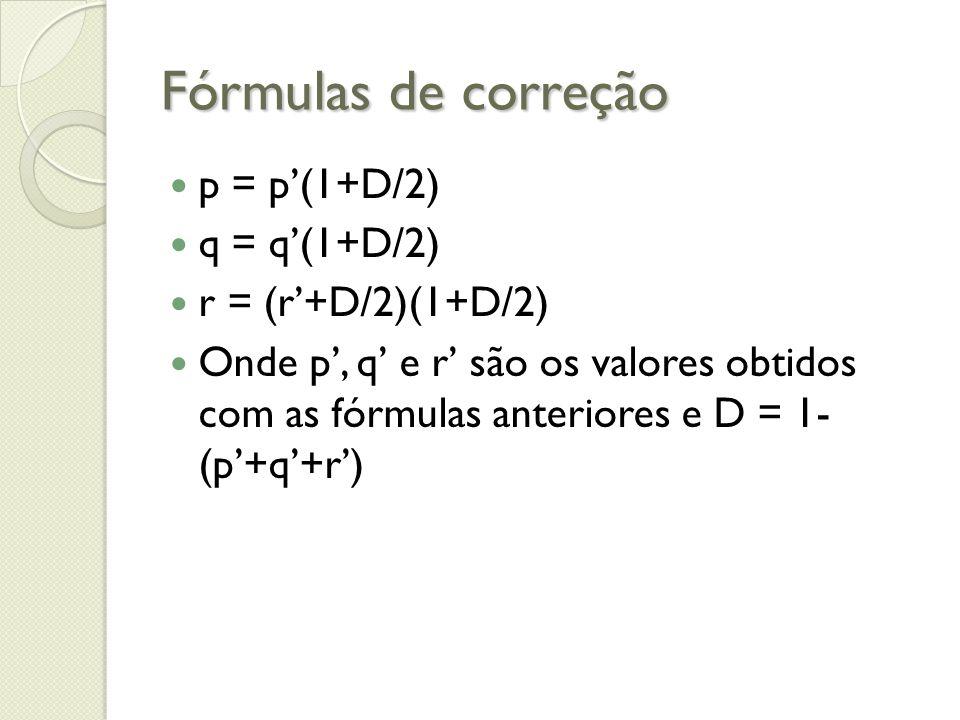 Fórmulas de correção p = p(1+D/2) q = q(1+D/2) r = (r+D/2)(1+D/2) Onde p, q e r são os valores obtidos com as fórmulas anteriores e D = 1- (p+q+r)