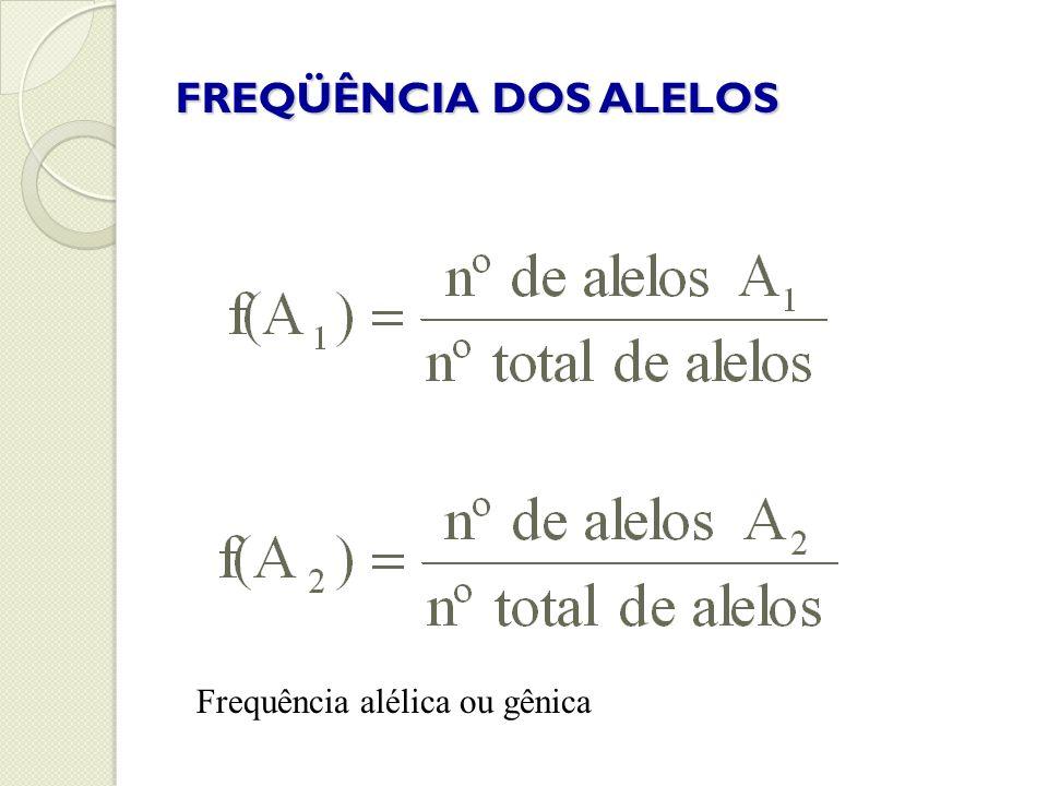 FREQÜÊNCIA DOS ALELOS Frequência alélica ou gênica