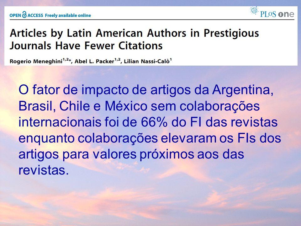 O fator de impacto de artigos da Argentina, Brasil, Chile e México sem colaborações internacionais foi de 66% do FI das revistas enquanto colaborações elevaram os FIs dos artigos para valores próximos aos das revistas.