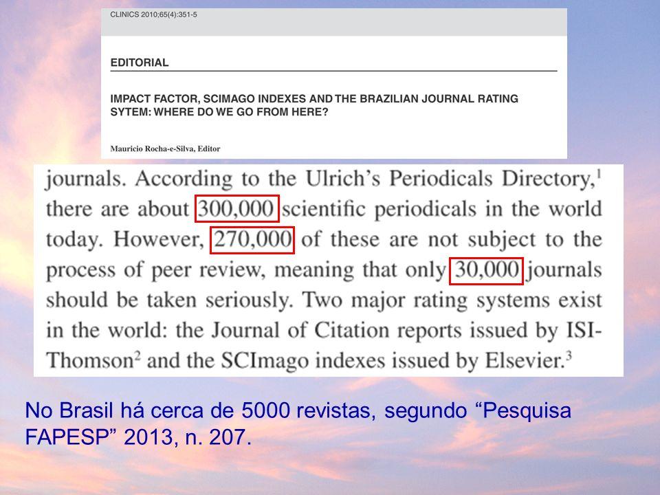 No Brasil há cerca de 5000 revistas, segundo Pesquisa FAPESP 2013, n. 207.