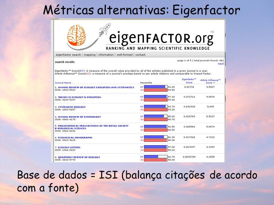 Métricas alternativas: Eigenfactor Base de dados = ISI (balança citações de acordo com a fonte)
