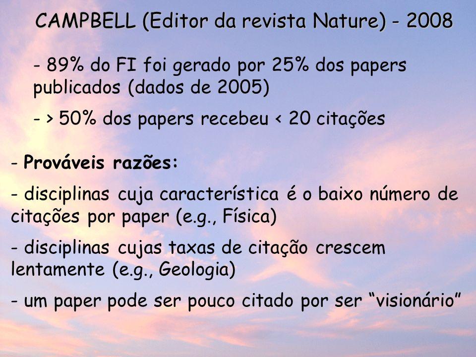 CAMPBELL (Editor da revista Nature) - 2008 - 89% do FI foi gerado por 25% dos papers publicados (dados de 2005) - > 50% dos papers recebeu < 20 citações - Prováveis razões: - disciplinas cuja característica é o baixo número de citações por paper (e.g., Física) - disciplinas cujas taxas de citação crescem lentamente (e.g., Geologia) - um paper pode ser pouco citado por ser visionário