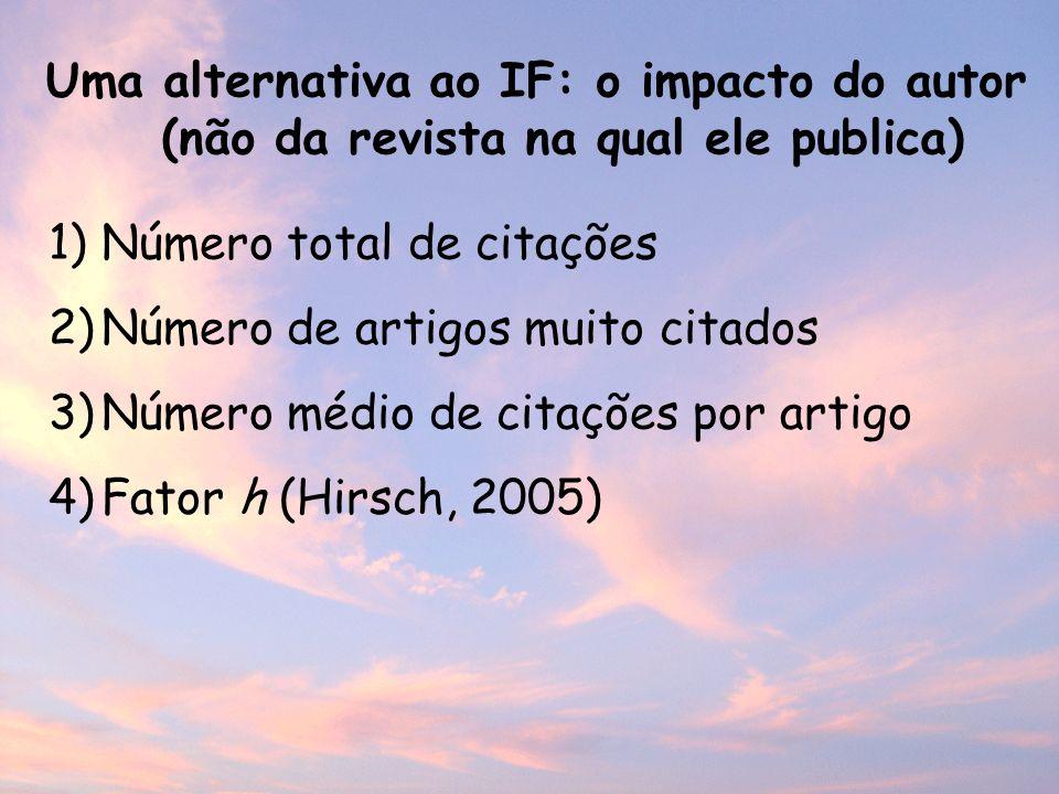 1)Número total de citações 2)Número de artigos muito citados 3)Número médio de citações por artigo 4)Fator h (Hirsch, 2005) Uma alternativa ao IF: o impacto do autor (não da revista na qual ele publica)
