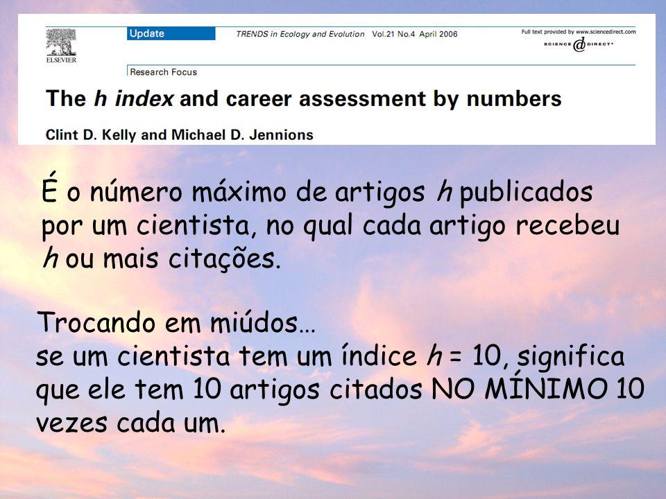 É o número máximo de artigos h publicados por um cientista, no qual cada artigo recebeu h ou mais citações.