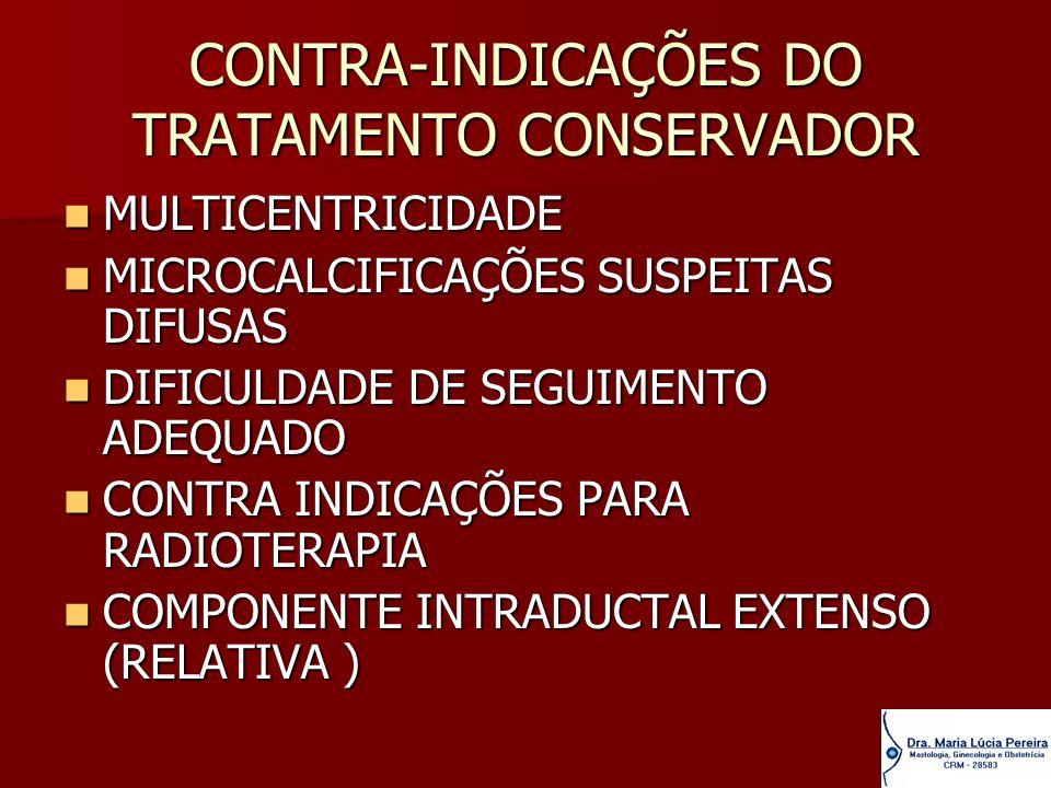 CONTRA-INDICAÇÕES DO TRATAMENTO CONSERVADOR MULTICENTRICIDADE MULTICENTRICIDADE MICROCALCIFICAÇÕES SUSPEITAS DIFUSAS MICROCALCIFICAÇÕES SUSPEITAS DIFU