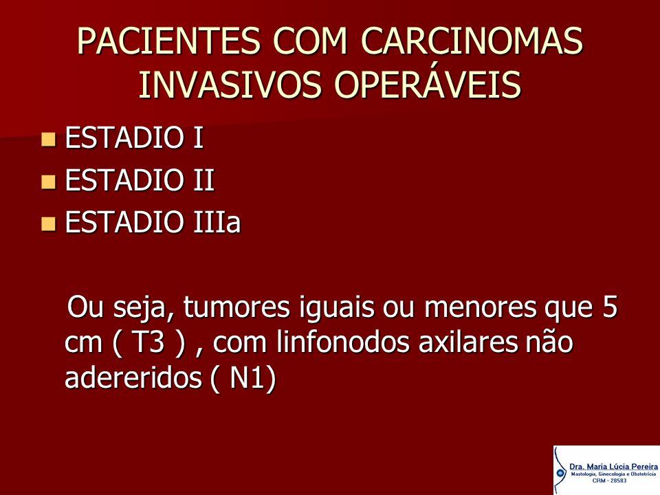 PACIENTES COM CARCINOMAS INVASIVOS OPERÁVEIS ESTADIO I ESTADIO I ESTADIO II ESTADIO II ESTADIO IIIa ESTADIO IIIa Ou seja, tumores iguais ou menores qu