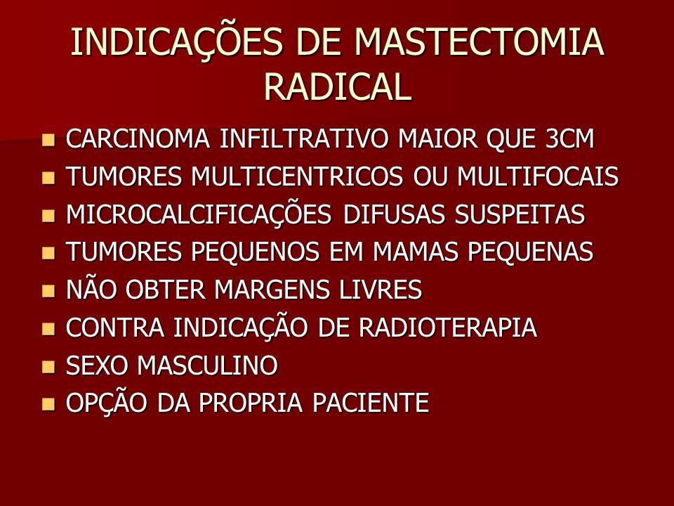 INDICAÇÕES DE MASTECTOMIA RADICAL CARCINOMA INFILTRATIVO MAIOR QUE 3CM CARCINOMA INFILTRATIVO MAIOR QUE 3CM TUMORES MULTICENTRICOS OU MULTIFOCAIS TUMO