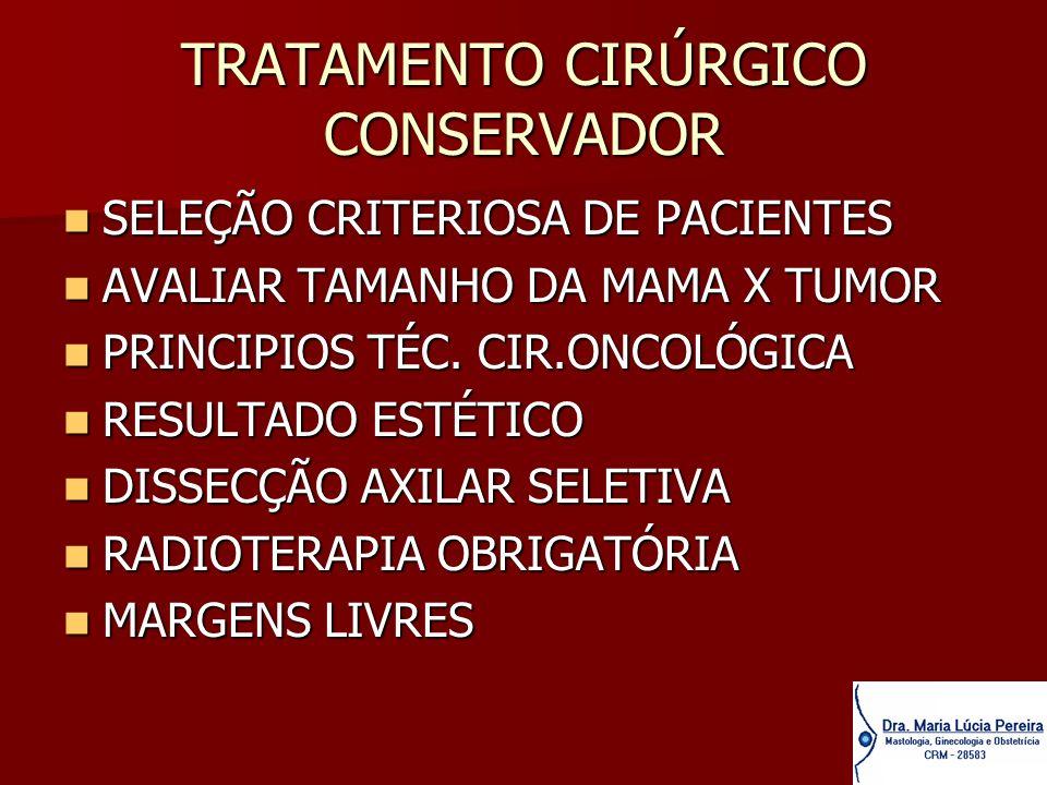 TRATAMENTO CIRÚRGICO CONSERVADOR SELEÇÃO CRITERIOSA DE PACIENTES SELEÇÃO CRITERIOSA DE PACIENTES AVALIAR TAMANHO DA MAMA X TUMOR AVALIAR TAMANHO DA MA