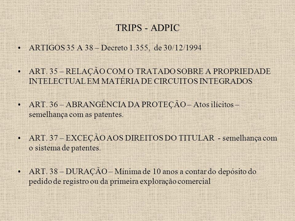 TRIPS - ADPIC ARTIGOS 35 A 38 – Decreto 1.355, de 30/12/1994 ART.