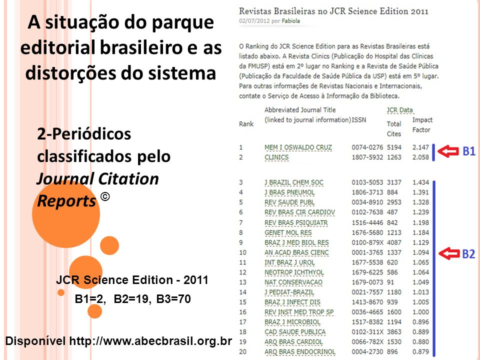 2-Periódicos classificados pelo Journal Citation Reports © A situação do parque editorial brasileiro e as distorções do sistema B1=2, B2=19, B3=70 JCR