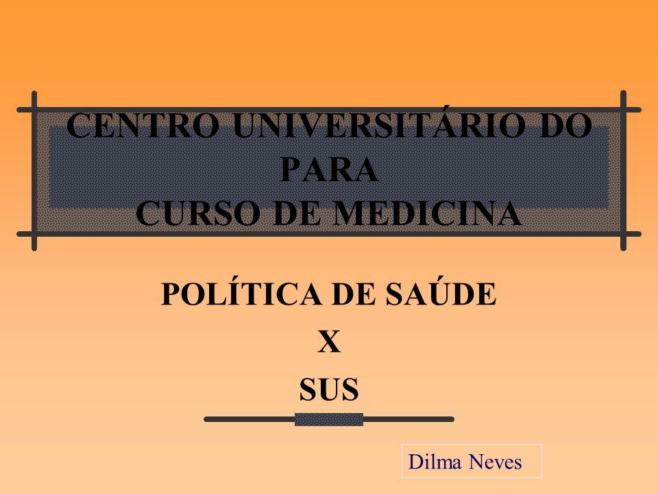 CENTRO UNIVERSITÁRIO DO PARA CURSO DE MEDICINA POLÍTICA DE SAÚDE X SUS Dilma Neves