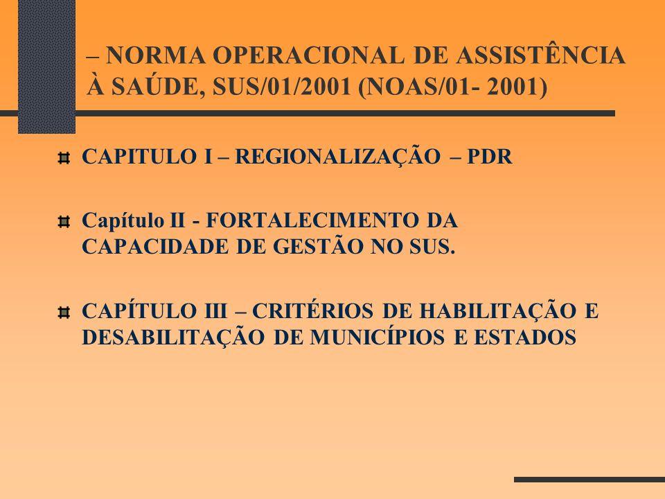 – NORMA OPERACIONAL DE ASSISTÊNCIA À SAÚDE, SUS/01/2001 (NOAS/01- 2001) CAPITULO I – REGIONALIZAÇÃO – PDR Capítulo II - FORTALECIMENTO DA CAPACIDADE D