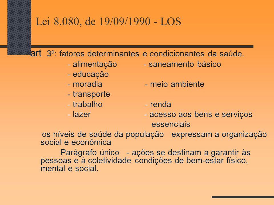 Lei 8.080, de 19/09/1990 - LOS art 3º: fatores determinantes e condicionantes da saúde. - alimentação - saneamento básico - educação - moradia - meio
