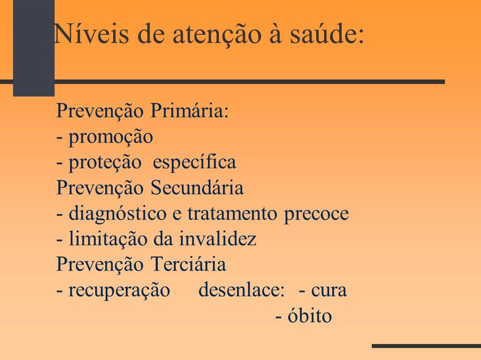 Níveis de atenção à saúde: Prevenção Primária: - promoção - proteção específica Prevenção Secundária - diagnóstico e tratamento precoce - limitação da