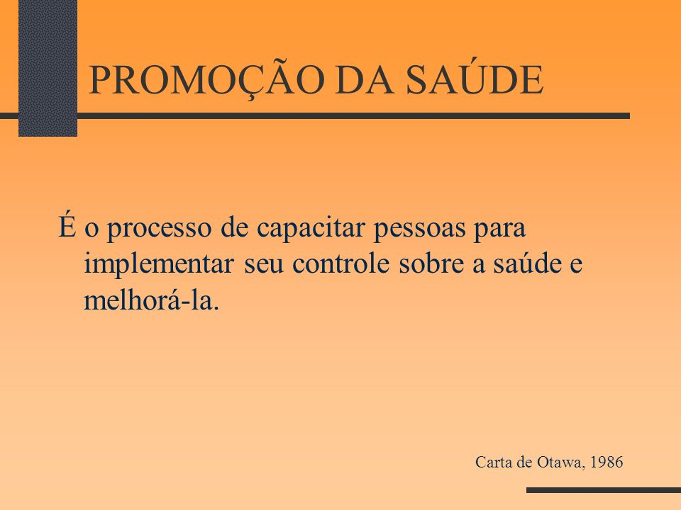 PROMOÇÃO DA SAÚDE É o processo de capacitar pessoas para implementar seu controle sobre a saúde e melhorá-la. Carta de Otawa, 1986