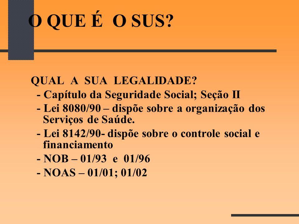 O QUE É O SUS? QUAL A SUA LEGALIDADE? - Capítulo da Seguridade Social; Seção II - Lei 8080/90 – dispõe sobre a organização dos Serviços de Saúde. - Le