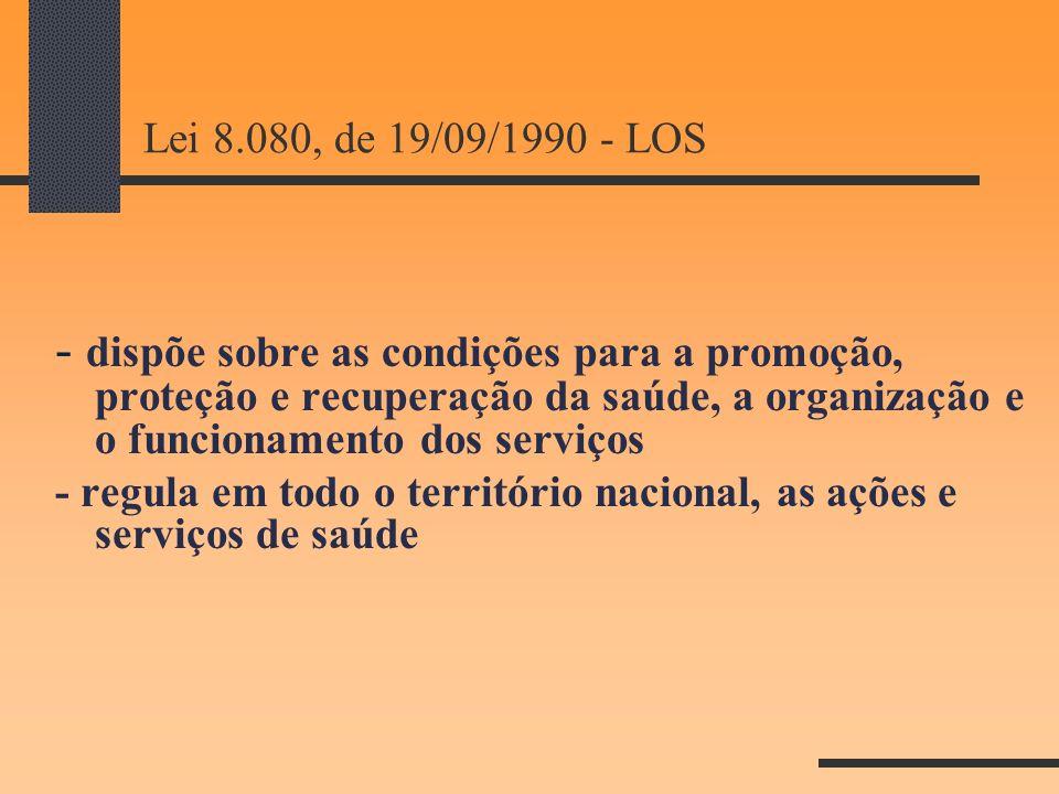 Lei 8.080, de 19/09/1990 - LOS - dispõe sobre as condições para a promoção, proteção e recuperação da saúde, a organização e o funcionamento dos servi