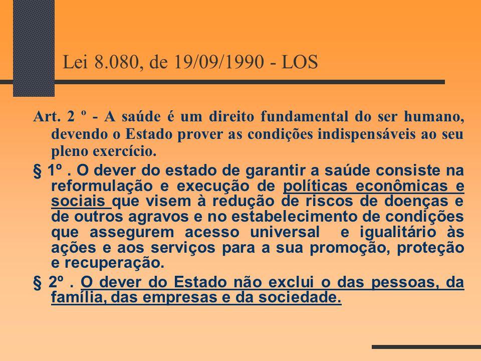 Lei 8.080, de 19/09/1990 - LOS Art. 2 º - A saúde é um direito fundamental do ser humano, devendo o Estado prover as condições indispensáveis ao seu p