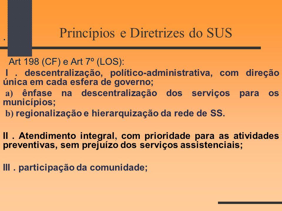 Princípios e Diretrizes do SUS. Art 198 (CF) e Art 7º (LOS): I. descentralização, político-administrativa, com direção única em cada esfera de governo