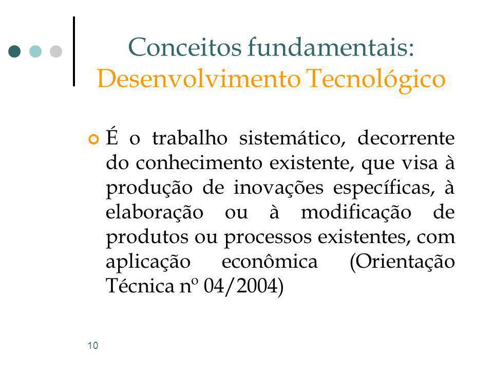 10 Conceitos fundamentais: Desenvolvimento Tecnológico É o trabalho sistemático, decorrente do conhecimento existente, que visa à produção de inovaçõe