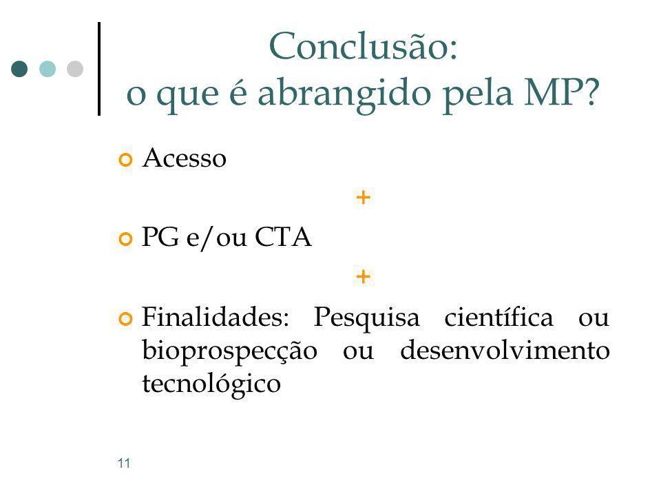 11 Conclusão: o que é abrangido pela MP? Acesso + PG e/ou CTA + Finalidades: Pesquisa científica ou bioprospecção ou desenvolvimento tecnológico