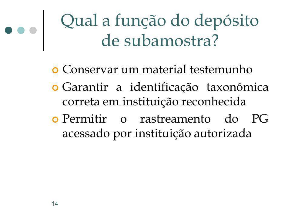 14 Qual a função do depósito de subamostra? Conservar um material testemunho Garantir a identificação taxonômica correta em instituição reconhecida Pe