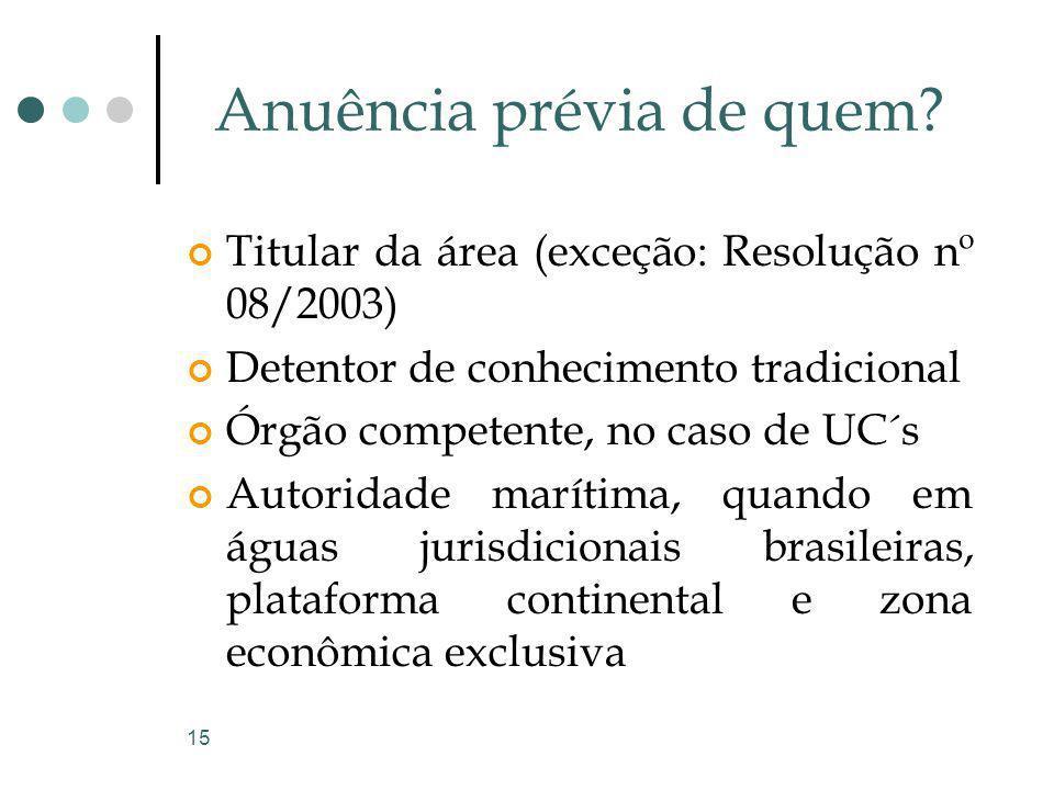 15 Anuência prévia de quem? Titular da área (exceção: Resolução nº 08/2003) Detentor de conhecimento tradicional Órgão competente, no caso de UC´s Aut