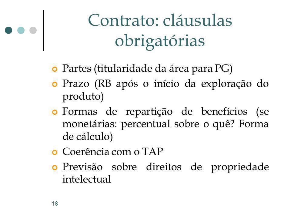 18 Contrato: cláusulas obrigatórias Partes (titularidade da área para PG) Prazo (RB após o início da exploração do produto) Formas de repartição de be