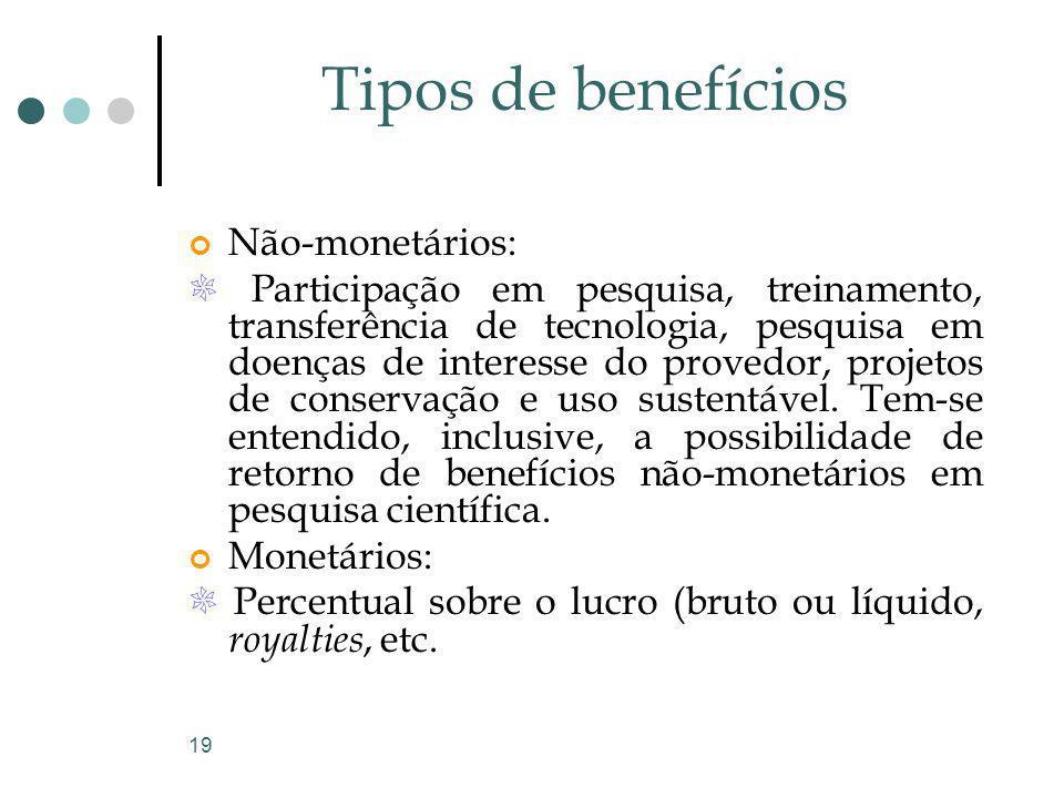 19 Tipos de benefícios Não-monetários: Participação em pesquisa, treinamento, transferência de tecnologia, pesquisa em doenças de interesse do provedo