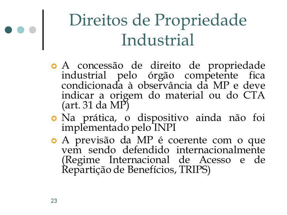 23 Direitos de Propriedade Industrial A concessão de direito de propriedade industrial pelo órgão competente fica condicionada à observância da MP e d