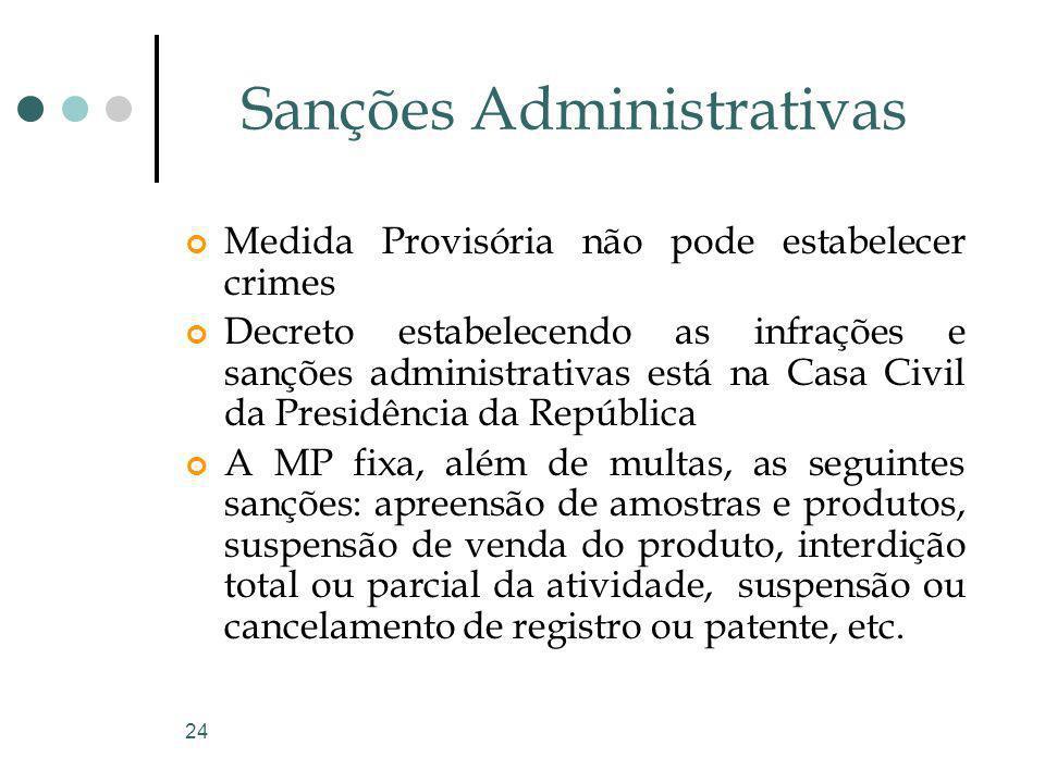 24 Sanções Administrativas Medida Provisória não pode estabelecer crimes Decreto estabelecendo as infrações e sanções administrativas está na Casa Civ