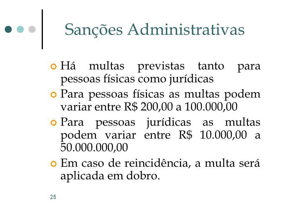 25 Sanções Administrativas Há multas previstas tanto para pessoas físicas como jurídicas Para pessoas físicas as multas podem variar entre R$ 200,00 a