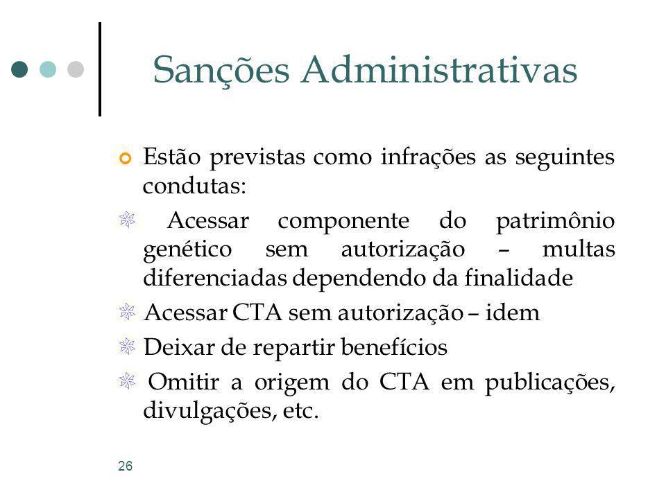 26 Sanções Administrativas Estão previstas como infrações as seguintes condutas: Acessar componente do patrimônio genético sem autorização – multas di