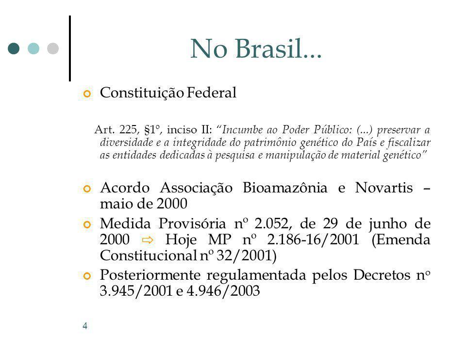 4 No Brasil... Constituição Federal Art. 225, §1º, inciso II: Incumbe ao Poder Público: (...) preservar a diversidade e a integridade do patrimônio ge