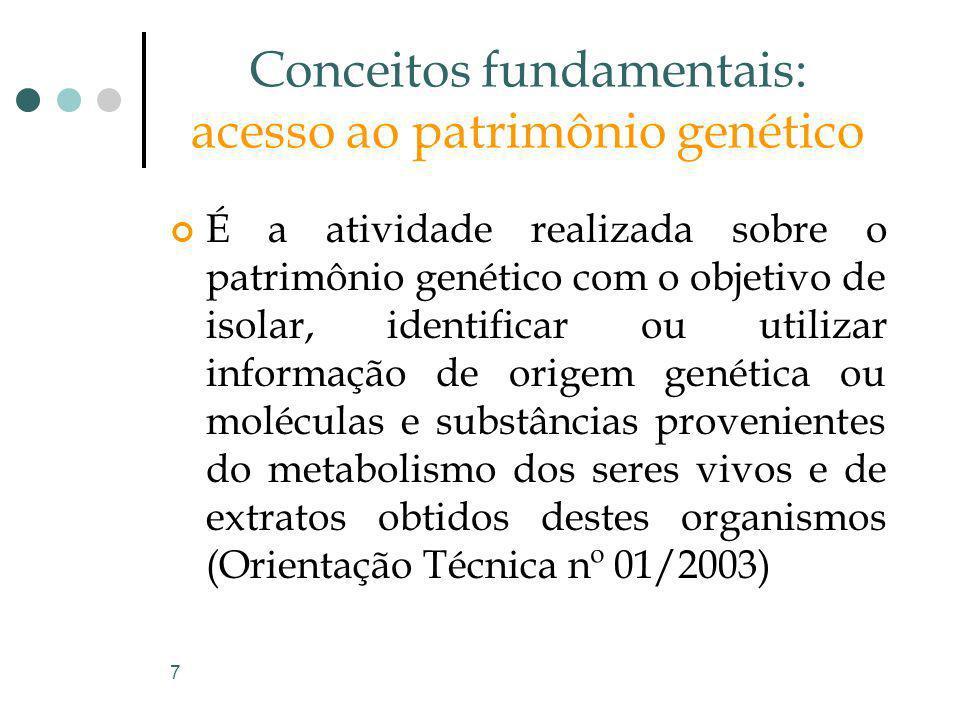 7 Conceitos fundamentais: acesso ao patrimônio genético É a atividade realizada sobre o patrimônio genético com o objetivo de isolar, identificar ou u