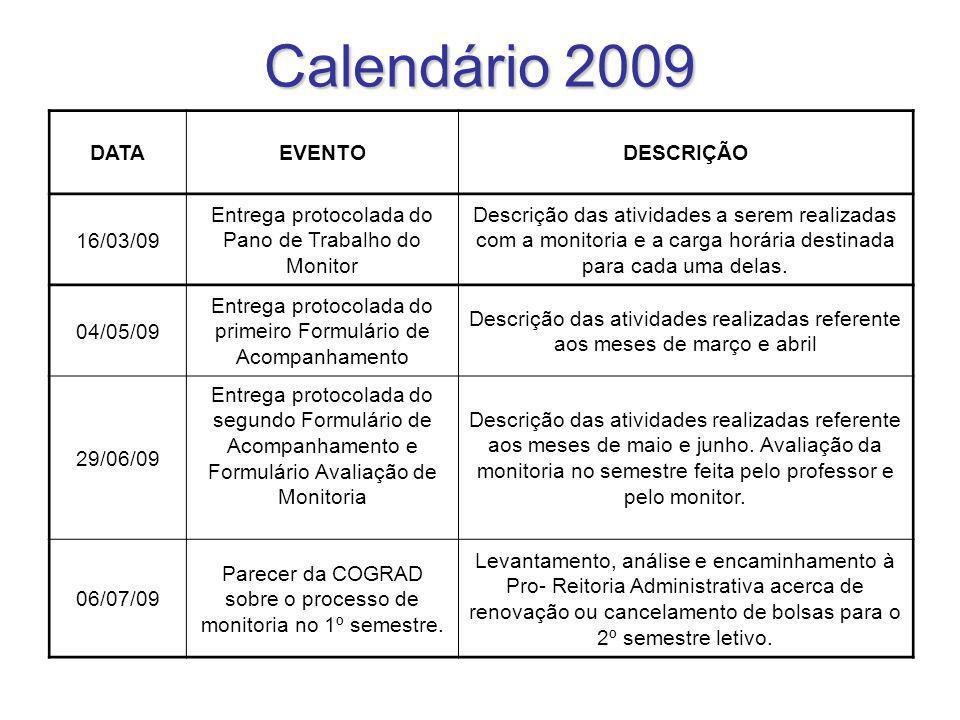 Calendário 2009 DATAEVENTODESCRIÇÃO 16/03/09 Entrega protocolada do Pano de Trabalho do Monitor Descrição das atividades a serem realizadas com a moni